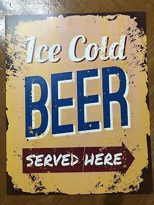Tin Sign Vintage Ice Cold Beer Served Here