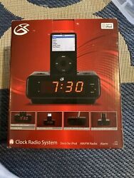 NIB GPX Clock Radio System Dock for Ipod AM/FM Radio with Alarm Black New in Box
