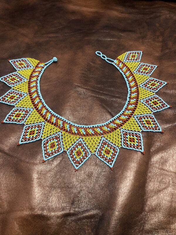 native american handmade beaded necklace/ Huichol/ Mexican Handmade Necklace