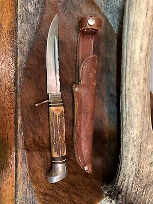 Vintage Olsen Knife Co. Made In Germany Stag Handle Fixed Blade Hunting Knife