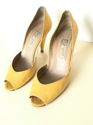 VINTAGE GUCCI SHOES D'ORSAY LEATHER SZ 37.5 / 7.5 M PEEP TOE MUSTARD YELLOW