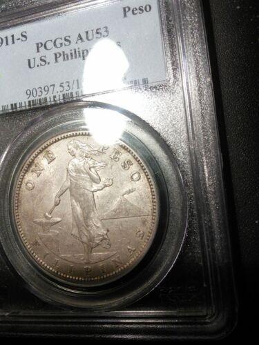 U.S. Philippines 1911-S Peso PCGS AU 53