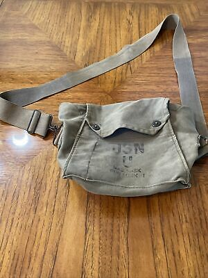 1940s Handbags and Purses History Vintage 1940s WWII Gas Mask Field Bag USN U ND Mark I, Canvas w/Strap $25.00 AT vintagedancer.com