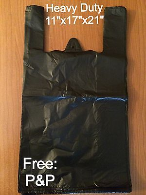 HEAVY DUTY BLACK VEST CARRIER BAGS 850x BAGS (11