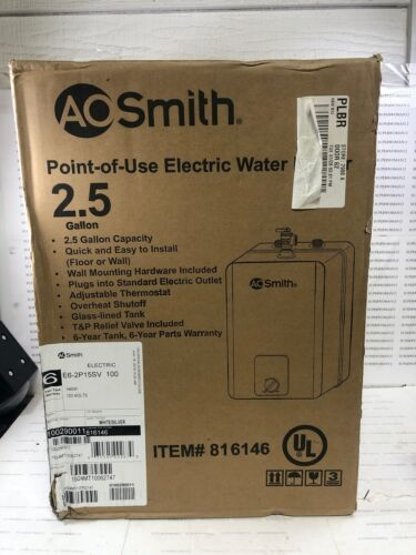 NEW!!! AO Smith Point-Of-Use Electric Water Heater 2.5Gallon Model: E6-2P15SV100
