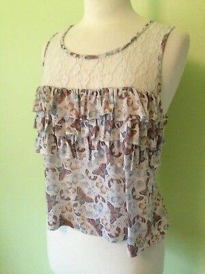 Butterfly Sleeveless Jersey (Topshop Cream Butterfly Frill Ruffle Lace Panel Sleeveless Jersey Vest Top M)