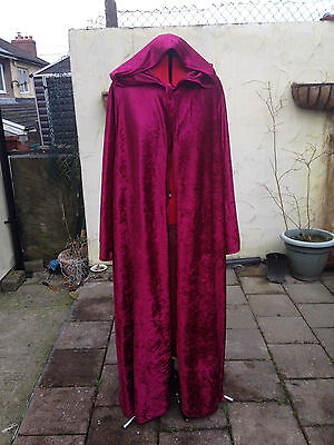 crushed velvet wine/burgendy cloak with sleeves pointy hood more colours wizard ()