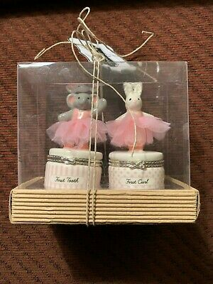 NWT Mud Pie Princess Tutu Elephant Tooth & Rabbit Curl Keepsake Box Set - Pink Rabbit Keepsake Box