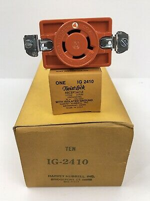 1 Hubbell Ig2410 20amp Twist-lock Receptacle 3-pole 4-wire Iso Gnd New