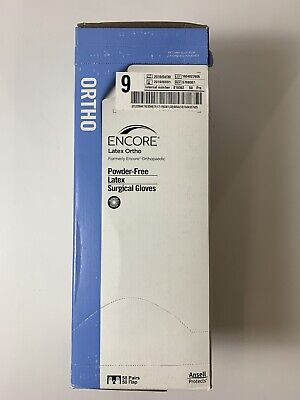 New Box Of 50 Pair Ansell Encore Latex Ortho Powder Free Surgical Gloves Size 9