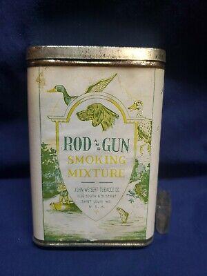 """RARE Vintage 4.5"""" Tobacco Advertising Tin Can Rod & Gun Smoking Mixture Weisert"""