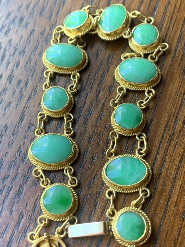 Vintage Chinese 22k Yellow Gold Natural Green Jadeite Jade Bracelet 7.25 in Long
