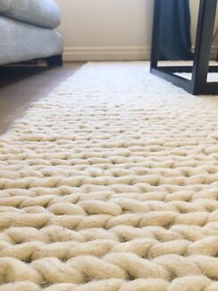 Rope braided cream wool rug