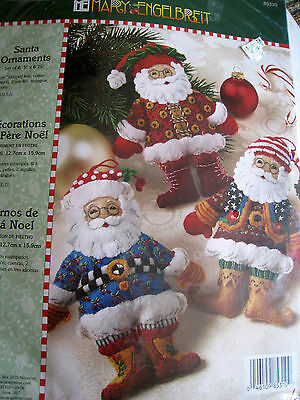 Bucilla Christmas Felt Applique Tree Ornament Kit,SANTA,Engelbreit,Makes 6,85310