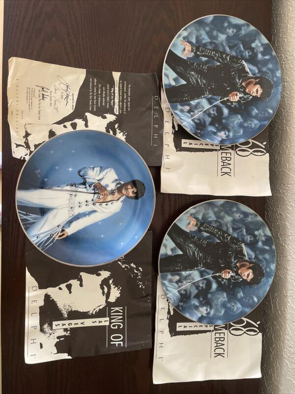 "Elvis Presley ""King of Las Vegas"" Plates (sold together or separate)"