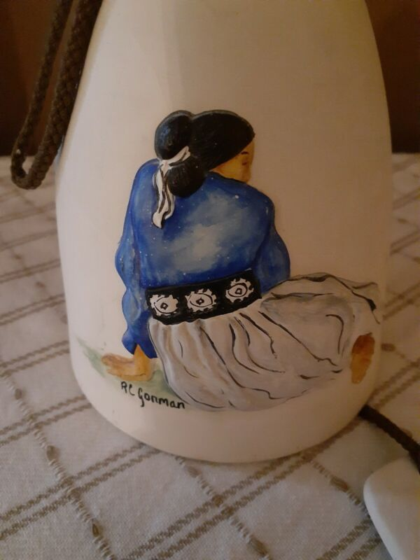 """R C Gorman Native American Pottery Clay Bell/Chime """"Concho""""  Artist Signed Rare"""
