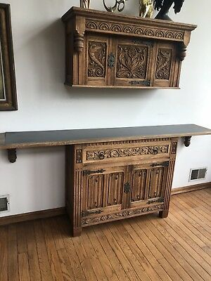 Antique Hand Carved Oak Wood 2 Peice Hutch Cabinet