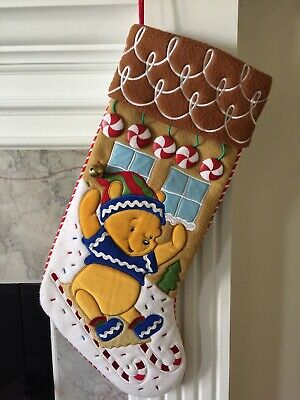 """Disney Winnie The Pooh Gingerbread Christmas Stocking Sled 20"""" Candy Plush RARE"""