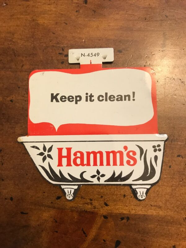"""Vintage Hamm's Beer Bathtub Party Tin Litho Sign Advertising 3 1/2"""" X 4 1/2"""""""