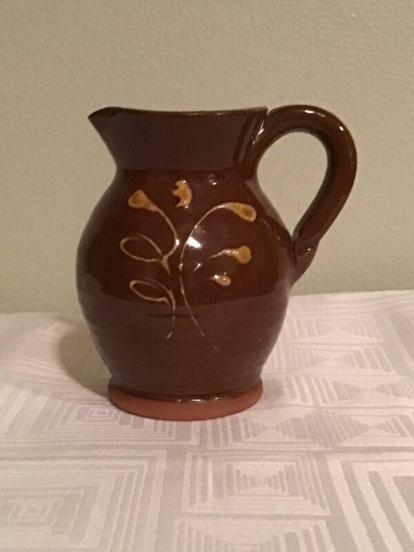 PIED POTTER HAMELIN Redware Pottery Pitcher Vase Artistic Glaze Feather Pattern