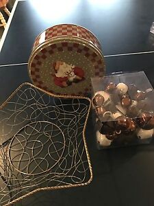 Selling Rustic Bells, Wire Star Bowl and Cookie Tin