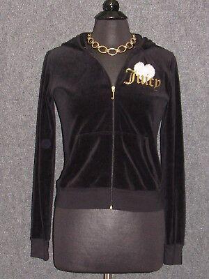 JUICIY COUTURE Black Velour Hoodie Embellished Sweat Shirt SZ L ()
