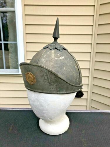 Antique Odd Fellows Spiked Pickelhaube Style Ceremonial Metal Helmet - Relic