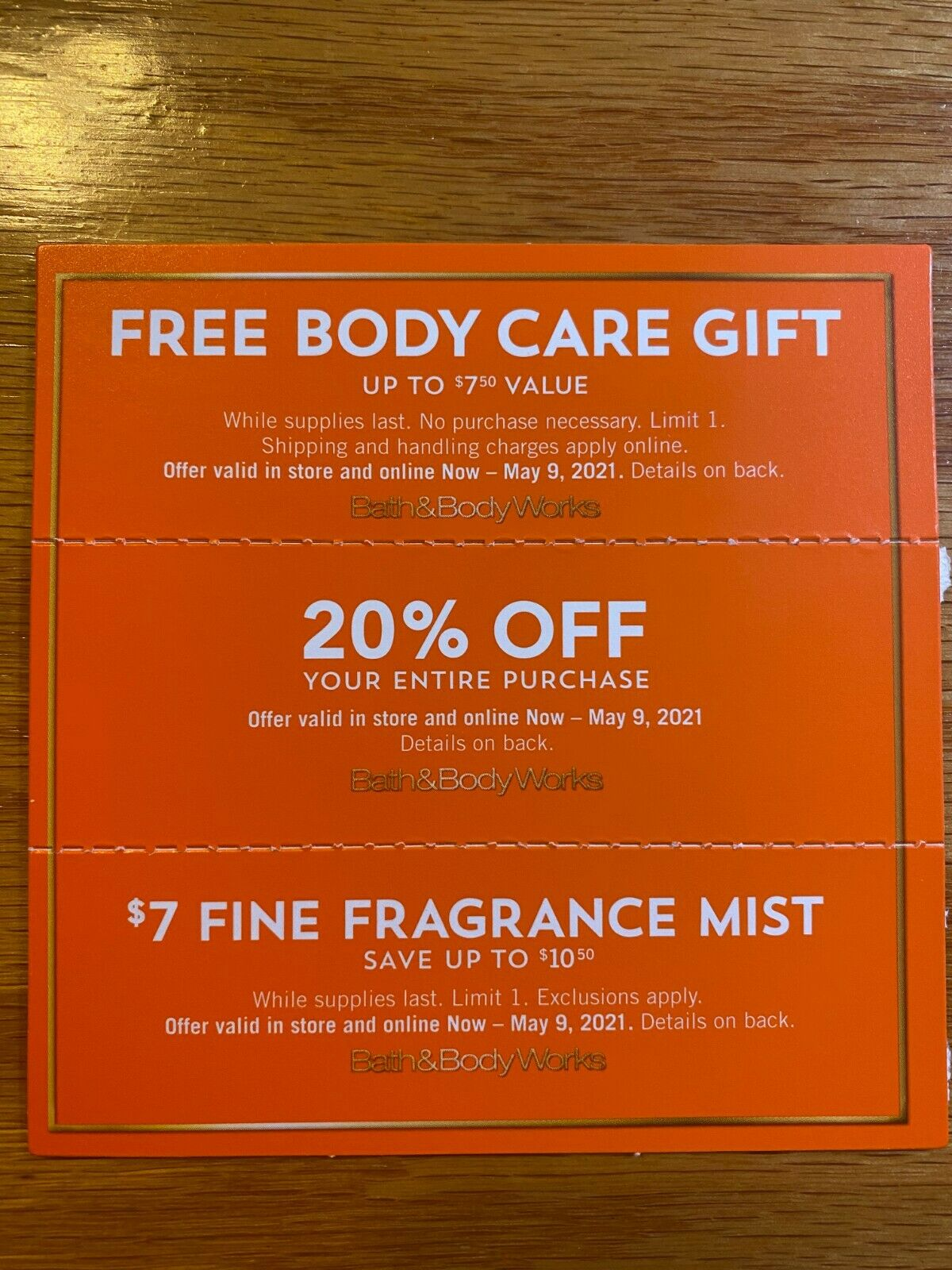 BATH BODY WORKS COUPON 20 OFF ENTIRE PURCHASE GIFT - $13.00