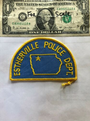 Rare Estherville Iowa Police Patch Un-sewn great shape