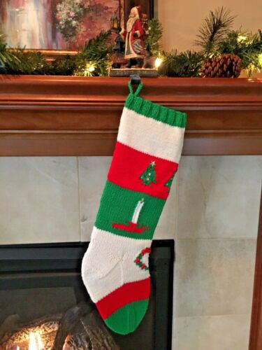New Hand Knit Christmas Stocking~Vintage  Pattern~Trees, Candles, Wreath