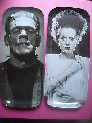 HALLOWEEN SERVING PLATTER FRANKENSTEIN BRIDE OF FRANKENSTEIN SET 2 NEW SPOOKY - Serving Platters Halloween