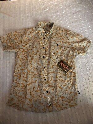 BNWT Howler Bros Mandarin Mansfield Shirt Medium Short Sleeve Orange & White