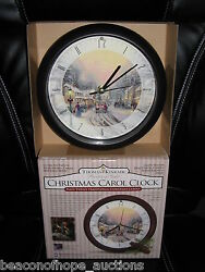 THOMAS KINKADE VILLAGE CHRISTMAS CLOCK 12 MUSICAL CAROLS LIGHT SENSOR NIB 1997