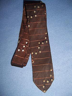 1940s Mens Ties | Wide Ties & Painted Ties Vtg 1940s narrow Men's LONG TIE brown black w/ rust & white 54