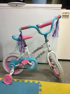 Little girl's pink and blue bike for ages 4-6