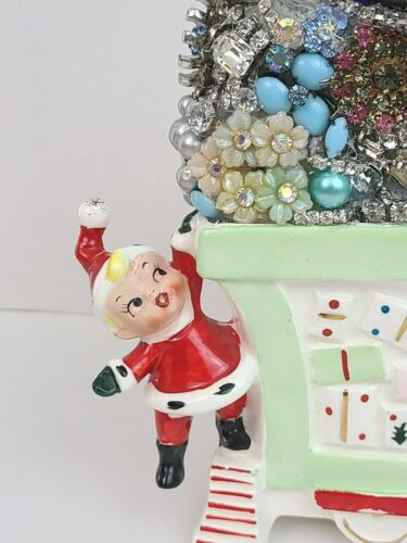 VTG Hand-Crafted Christmas GIRL Riding Train Planter LOADED with Jewelry!
