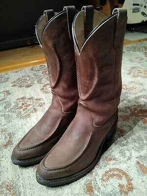 DOUBLE H OILED BROWN LEATHER HORSESHOE R TOE COWBOY WORK BOOTS #1600 MEN'S 10D