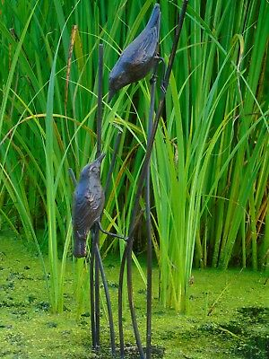 Delightful Birds on Reeds Garden Statue. Cast in Iron with Aged Bronze Finish