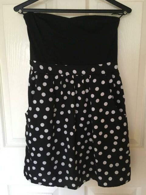 Jay Jays Black And White Polka Dots Strapless Dress With Pockets