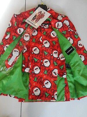 Suitmeister Christmas Santa Claus 3 Pc Suit Blazer Pants Tie Sz M Red Green - Father Christmas Red Suit