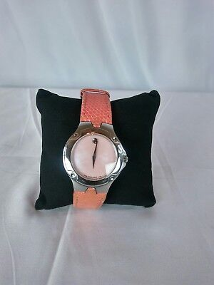 Movado Sports Edition Ladies Watch Leather Lizard Sapphire Crystal Stainless...