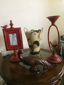 Vintage bird picture frame and candle holder plus rooster
