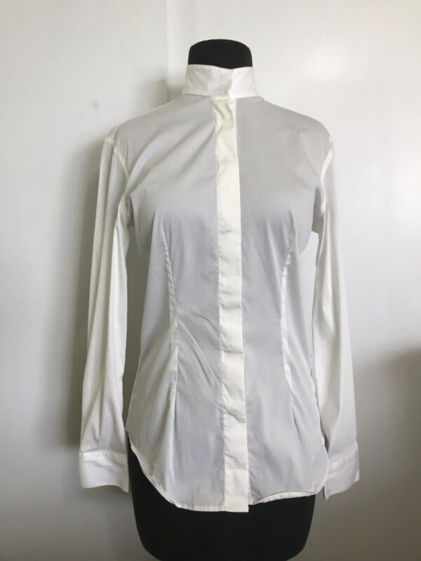 ALESSANDRO ALBANESE Off White Ivory Show Shirt Snap Collar Size Small