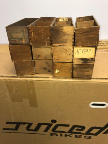 """lot of 12 vintage antique pine hardware store cabinet drawers 12"""" x 4"""" x 3.5"""""""