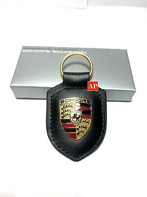 NEW IN BOX OEM PORSCHE CREST genuine Keyring Key Chain KeyFob Jet Black Leather