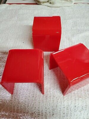 Acrylic Riser Display Stands 3 Pcs Set Red Color Free Shipping