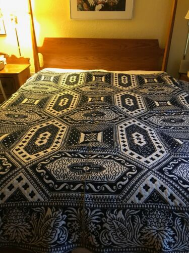 Antique Jacquard woven blue and cream reversible coverlet dated 1852
