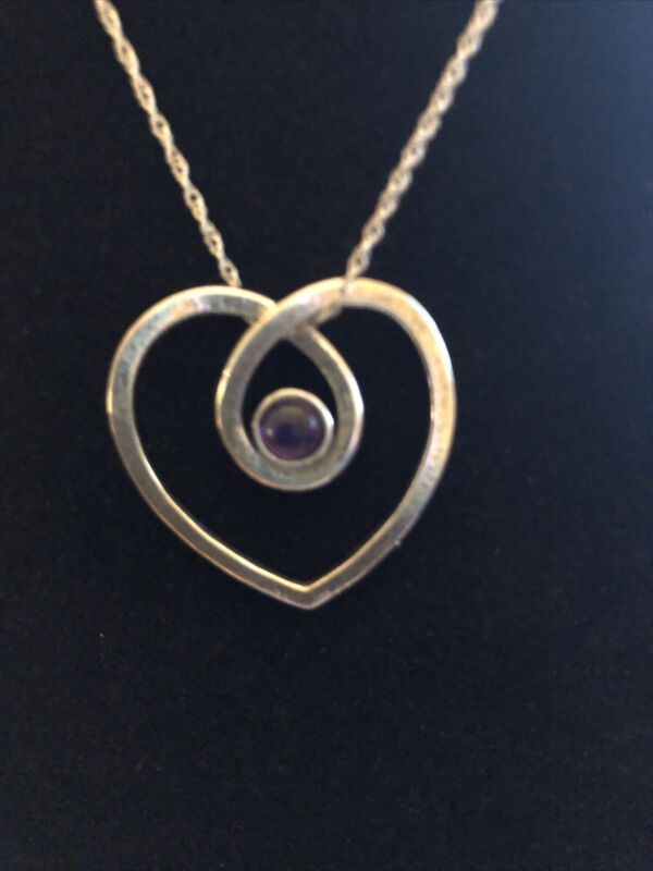 SHABLOOL ISRAEL DIDAE 925 STERLING heart NECKLACE with Purple Stone PRETTY!