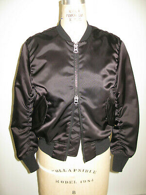 Acne Studios Black Bomber Encore Shine Paw Satin Bomber Jacket
