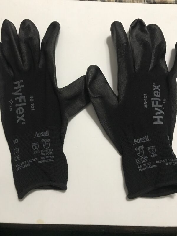 New Hyflex 48-101 Polyurethane Gloves Coated ANSELL Size 10 Industrial Home Work